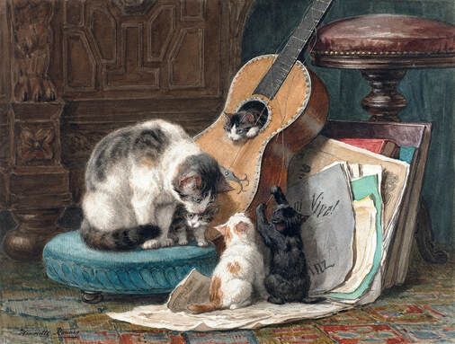 Henriette Ronner's The Musicians is a work of art depicting a cat and four kittens playing around a guitar.